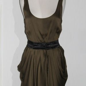 ALICE & OLIVIA Silk Olive Green Sleeveless Dress